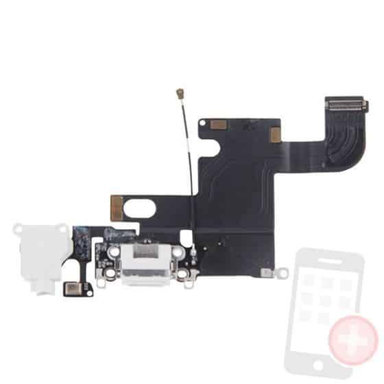 Flex conector de carga, jack, micrófono y antena para iPhone 6 blanco