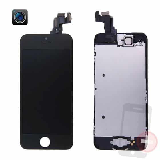 Pantalla completa para iPhone 5C negra con componentes
